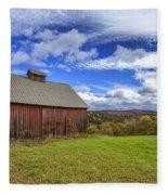 Woodstock Vermont Old Red Barn In Autunm Fleece Blanket