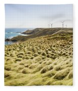 Woolnorth Wind Farm And Ocean Landscape Tasmania Fleece Blanket