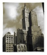 Old New York Photo - Historic Woolworth Building Fleece Blanket
