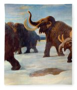 Wooly Mammoths Near The Somme River Fleece Blanket