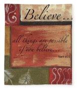 Words To Live By Believe Fleece Blanket
