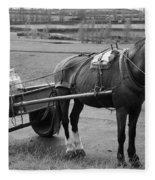 Work Horse And Cart Fleece Blanket