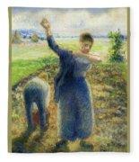Workers In The Fields 1896-97 Camille Pissarro Fleece Blanket