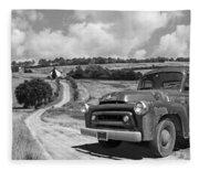 Down On The Farm- International Harvester In Black And White Fleece Blanket