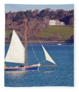 Working Boat At Trelissick Cornwall Fleece Blanket
