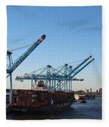 Working The Port Of New Orleans Fleece Blanket
