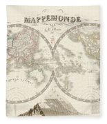 World Map - 1842 Fleece Blanket