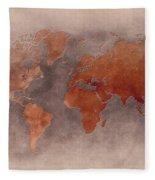 World Map Brown Fleece Blanket