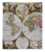 World Map, C1690 Fleece Blanket