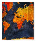 World Map - Elegance Of The Sun - Fractal - Abstract - Digital Art 2 Fleece Blanket