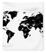 World Map In Black And White Fleece Blanket