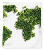 World Map Made Of Green Trees Fleece Blanket