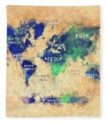World Map Oceans And Continents Art Fleece Blanket