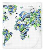 World Map Organic Green And Blue Fleece Blanket
