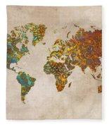 World Map Oriental Fleece Blanket