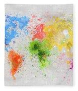 World Map Painting Fleece Blanket