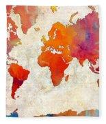 World Map - Rainbow Passion - Abstract - Digital Painting 2 Fleece Blanket
