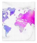 World Map Watercolor  Fleece Blanket