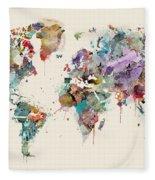 World Map Watercolors Fleece Blanket