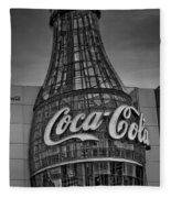 World Of Coca Cola Bw Fleece Blanket