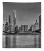World Trade Center And The Brooklyn Bridge Bw Fleece Blanket