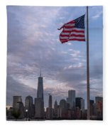 World Trade Center Freedom Tower New York City American Flag Fleece Blanket