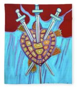 World Turtle Three Of Swords Fleece Blanket