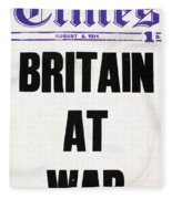 World War I Headline, 1914 Fleece Blanket