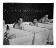 World War II Bath Time For Guys Fleece Blanket