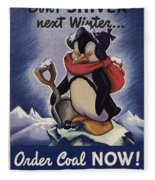 World War II Patriotic Posters Usa Conservation Coal Do Not Shiver Next Winter Order Coal Now Fleece Blanket