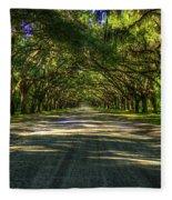 Shadows Of Wormsloe Plantation Oak Avenue Georgia Art Fleece Blanket