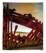 Worn Rusting Shipwreck Fleece Blanket
