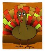 Worried Turkey Illustration Fleece Blanket