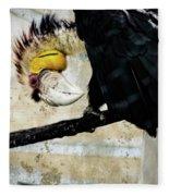 Wreathed Hornbill Perching Against Vintage Concrete Wall Backgro Fleece Blanket