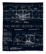 Wright Bros Flyer Aeroplane Blueprint  1903 Fleece Blanket