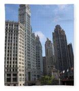 Wrigley And Tribune Tower Fleece Blanket