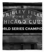 Wrigley Field Sign -- Bw Fleece Blanket