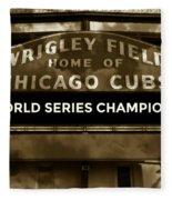 Wrigley Field Sign - Vintage Fleece Blanket