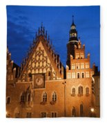 Wroclaw Old Town Hall At Night Fleece Blanket