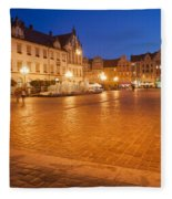 Wroclaw Old Town Market Square At Night Fleece Blanket