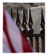 Wrought Iron And American Flag Fleece Blanket