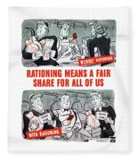 Ww2 Rationing Cartoon Fleece Blanket