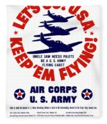 Us Army Air Corps - Ww2 Fleece Blanket by War Is Hell Store