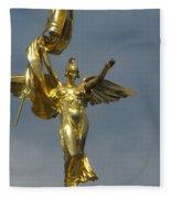 Wwi Gold Winged Victory Statue Fleece Blanket
