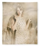 Wwii Tour Of Duty Pin-up Woman Fleece Blanket