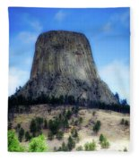 Wyoming Devils Tower With 8 Climbers August 7th 12 36pm 2016 With Inserts Fleece Blanket