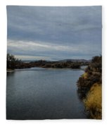 Wyoming Morning River Fleece Blanket