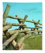 Wyoming Snow Fence Fleece Blanket
