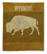 Wyoming State Facts Minimalist Movie Poster Art Fleece Blanket