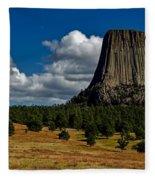 Wyoming's Devil's Tower Fleece Blanket